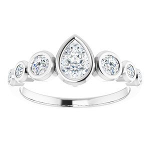 124658 14K X1 White 6x4 mm Pear Engagement Ring Mounting