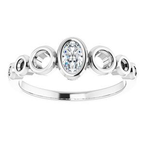 14K White 5x3 mm Oval Engagement Ring Mounting