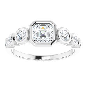 124658:300 14K White 5 mm Asscher Engagement Ring Mounting