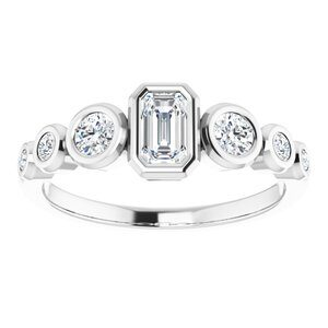 #124658 330 14K White 5x3 mm Emerald Engagement Ring Mounting