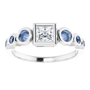 #124658 390 14K White 4 mm Square Engagement Ring Mounting