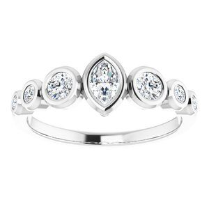 #124658 465 14K White 5x3 mm Marquise Engagement Ring Mounting