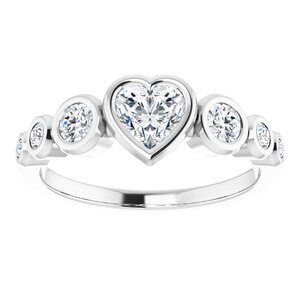 #124658 660 14K X1 White 5x5 mm Heart Engagement Ring Mounting