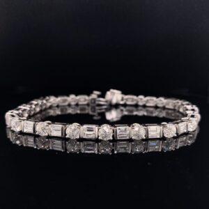 #1477A-9710000 14K White Gold VS1-SI1 F Tennis Bracelet 7.80 ct.||