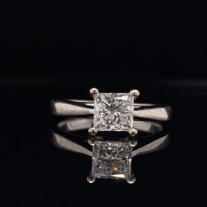 1.10 Carat Princess Cut Solitaire Engagement Ring