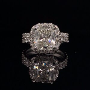 #2764 14K 2.0 ct. White Gold Cushion Halo with Matching Wedding Band Color H Clarity SI2 2.54 CTW