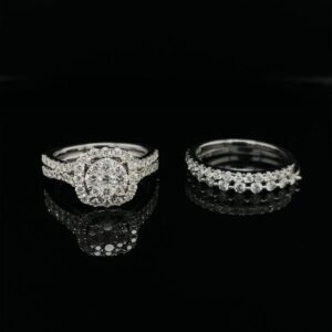 #3054 14K White Gold Halo Cluster & 2 Diamond Bands