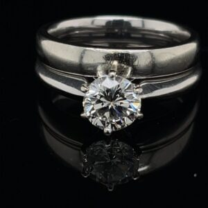 #3076-974200 1.14 ct. Solitaire 14K White Gold Color G Clarity SI1 Engagement Ring and Band