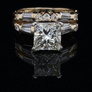 #3082-974500 14K Yellow Gold Soliraire Princess 2.0 ct. Engagement Ring Matching Band
