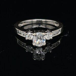 #3085-971200 14K White Gold 1.0 CTW 3 Stone Engagement Ring