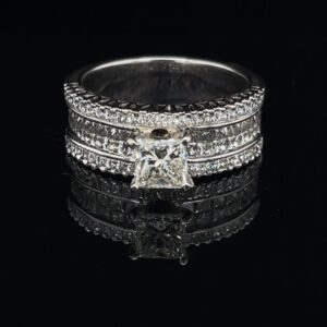 #3087-972000 0.97 ct. 14K White Gold Princess Color J Clarity SI1 Engagement Ring