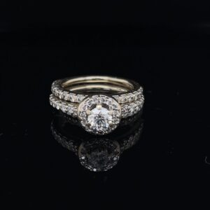 #3088-97800 14K White Gold Halo and 2 Bands
