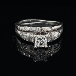 #3094-971000 Platinum 0.71ct. Princess Cut Wedding Set Color H Clarity I