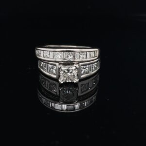 #3095-973500 14K White Gold 1.06ct. Princess Color I Clarity SI1 Matching Band