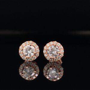 #E100-971200 .75CTW Rose Gold Halo Earrings