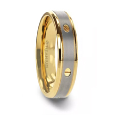 BOUNDLESS Gold-Plated Titanium Flat Brushed Center With Rotating Screw Design And Beveled Polished Edges - 8mm