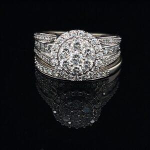 #DYR1306A-971400 14K White Gold Cluster Engagement Ring 2.0CTW