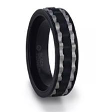 GEAR Two-Toned Wavy Centered Brushed Black Titanium Men's Wedding Band With Flat Polished Edges – 8mm