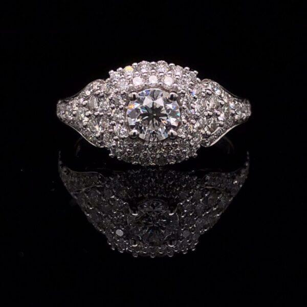 #SROD50-971900 14K White Gold 1.30 ct. Engagement Ring IGI H I1 67 Natural Diamonds