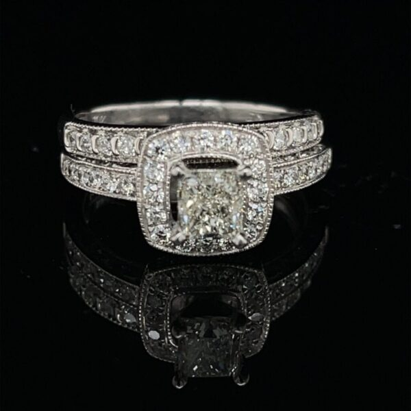 S97800-1800 .69 PR 14K White Gold Engagement Ring Color I Clarity VVS2 Matching Band