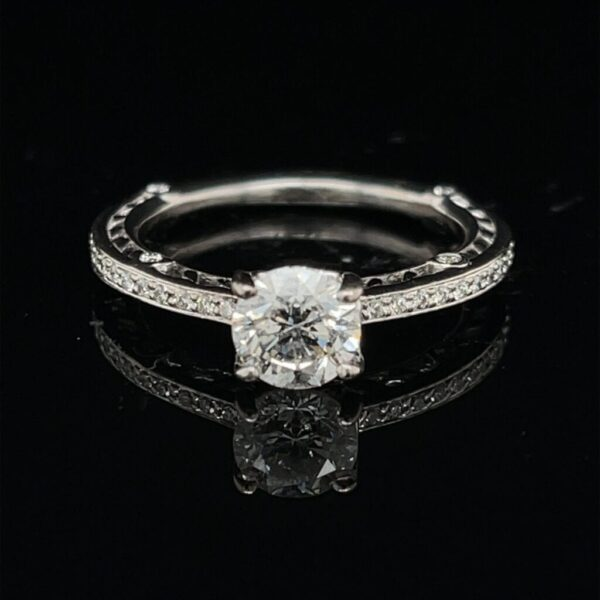 M2788-M971500 1.0CTW 18K White Gold Solitaire Round Engagement Ring Color H Clarity I1