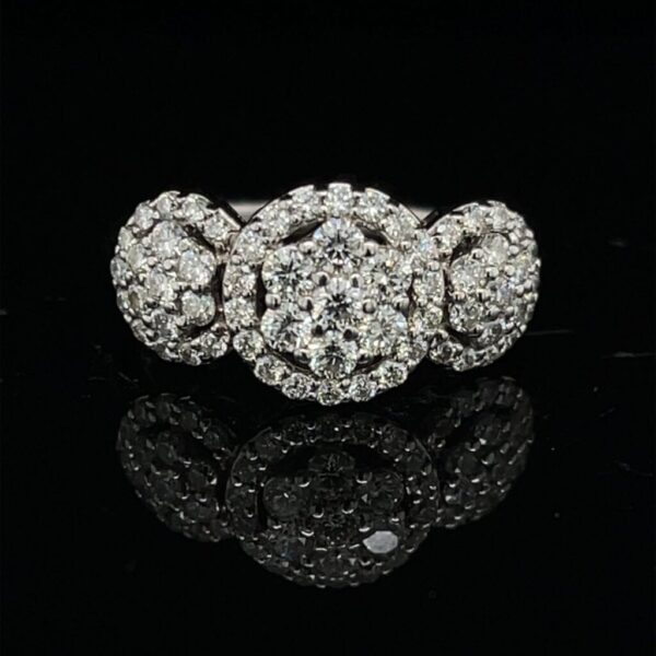 M2789-M971000 1.0CTW Cluster 14K White Gold Engagement Ring
