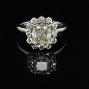 #1575-M974500 1.26 CU Halo White Gold Engagement Ring H VS2