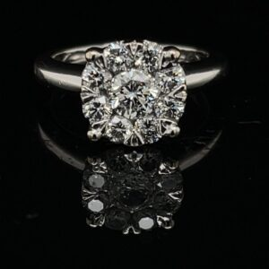#3061-971000 14K White Gold Cluster Engagement Ring