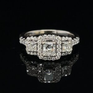 #3064-971200 1.0 ct. 14K White Gold 3 Stone Halo Engagement Ring Color H Clarity SI1