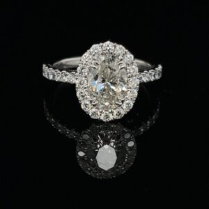 #3066 14K White Gold Oval Halo Engagement Ring Color I SI 1