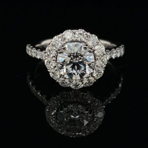 #3070-975000 14K White Gold Halo Engagement Ring