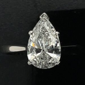 #3073 977000 1.67ct. 14K White Gold Pear Solitaire Engagement Ring Color G Clarity SH1