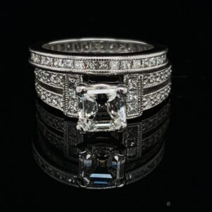 #Hunter-974250 1.19 ct. Platinum Engagement Ring Asscher GIA Color H/I Clarity VS1 Band 1.0 CTW