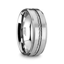 LANNISTER Men's Tungsten Flat Wedding Band with Steel Wire Cable Inlay & Beveled Edges – 8mm 1