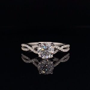 #LG101 972450 14K White Gold Lab Grown Engagement Ring 1.0 ct. E SI2 IGI Round Brilliant 1.17CTW