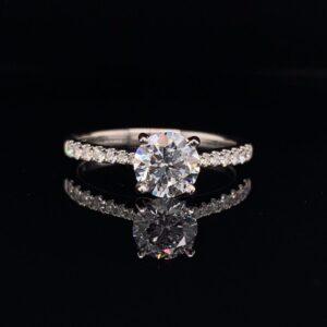 #LG102 971999 14K White Gold Lab Grown Engagement Ring 1.0 ct. G SI2 IGI Round Brilliant 1.19 CTW