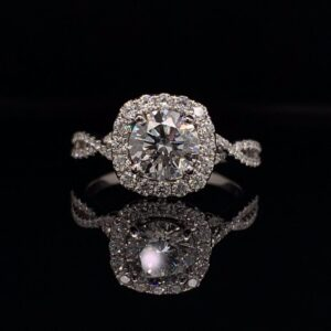 #LG103 973300 14K White Gold Lab Grown Halo Engagement Ring 1.21 ct. G VS1 IGI Round Brilliant 1.67 CTW