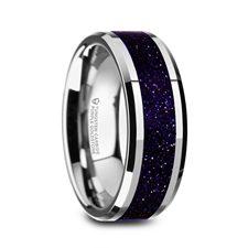 MAKI Men's Beveled Tungsten Polished Finish Wedding Ring with Purple Goldstone Inlay - 8mm 1
