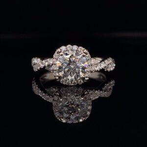 #2763-97400 1.42ctw Twisted Halo Engagement ring 1.04 Round Brilliant Diamond H color SI2 clarity