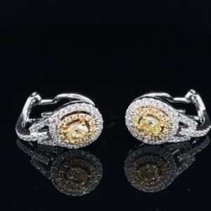 #RodA2-971200 Earrings Fancy Yellow Oval Double Halo 1.00CTW