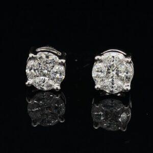 #RodA3-971999 2.0CTW Earrings 1K White Gold Screw Back Marquise Princess Cluster