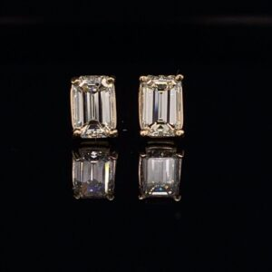#RODER1-972999 1.53CTW Emerald Cut Diamond Earrings J color VS2 Clarity
